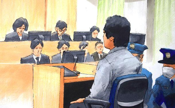 宇都宮地裁で判決を聞く勝又拓哉被告=2016年4月8日、絵と構成・小柳景義