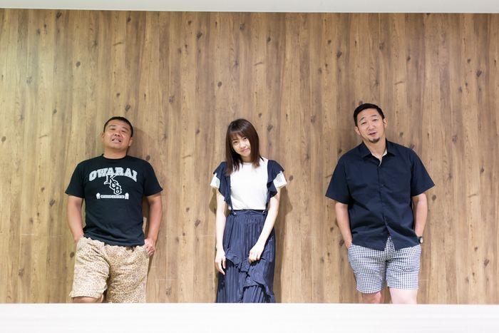 写真・図版 : 左から、お宮の松、木﨑ゆりあ、矢島弘一=冨田実布撮影