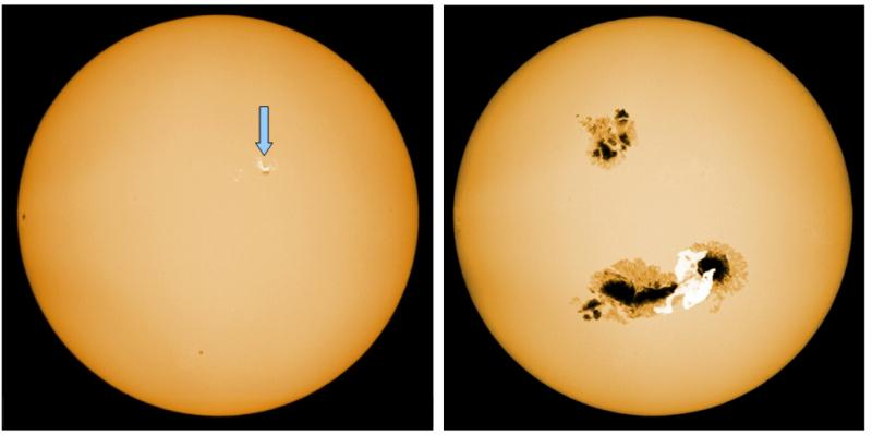 写真・図版 : 図3:(左)可視光で見た太陽とフレア(光っているところ)と黒点(黒いところ)=2011年9月7日の大フレア、飛騨天文台SMART望遠鏡で撮影、(右)太陽型星のスーパーフレアと巨大黒点の想像図