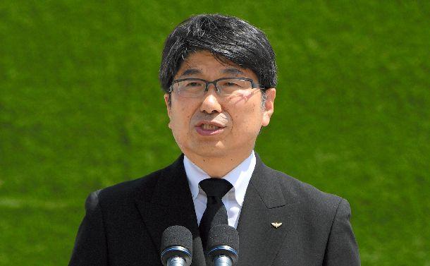 平和宣言で北東アジア非核兵器地帯の実現に向けた努力をするよう求めた田上富久・長崎市長=2018年8月9日