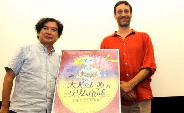 写真・図版 : 『手をなくした少女』の特別先行上映会では、セバスチャン・ローデンバック監督(右)と片渕須直監督とのトークショーが行われた=2018年7月9日、東京・渋谷のユーロスペースにて
