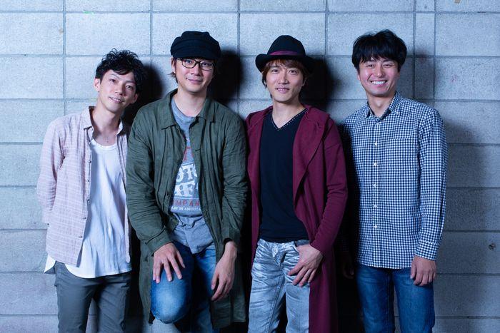 写真・図版 : 左から、田中俊裕、岩﨑大、山本芳樹、緒方和也=冨田実布撮影
