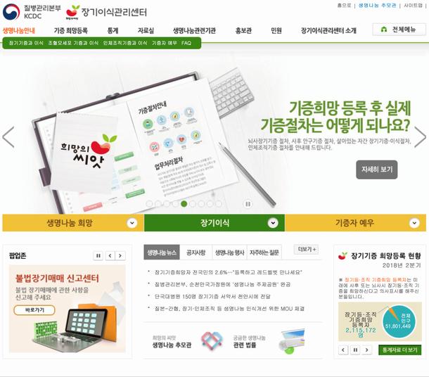 写真・図版 : 提供された臓器の配分等を行う韓国臓器移植管理センター(KONOS)のホームページ