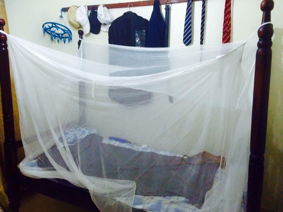 写真・図版 : 僕の部屋。入院後、ベッドにしっかり蚊帳を張った