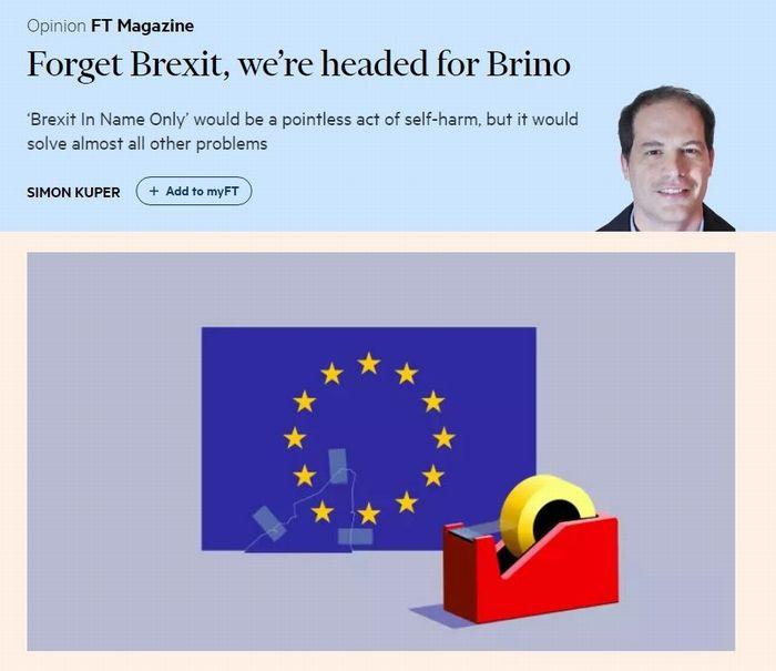 写真・図版 : 「ブレグジットを忘れろ、ブレノになるぞ」というクッパ氏のコラム(10月4日、フィナンシャル・タイムズのウェブサイトより)