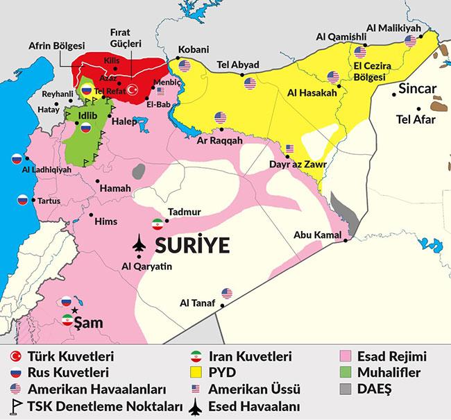 写真・図版 : トルコの新聞「Yeni Çağı」2018年4月29日付Cüneyt MENGÜ氏のコラムより。この時点のシリア国内の勢力図。灰色部分「DAEŞ」はISのことで、かなり勢力が衰退している。ピンク色はアサド率いるシリア軍、黄色は「PYD(クルド民主統一党)軍」、アフリンを含む赤色がトルコ軍、黄緑色が反政府軍の影響下にある。