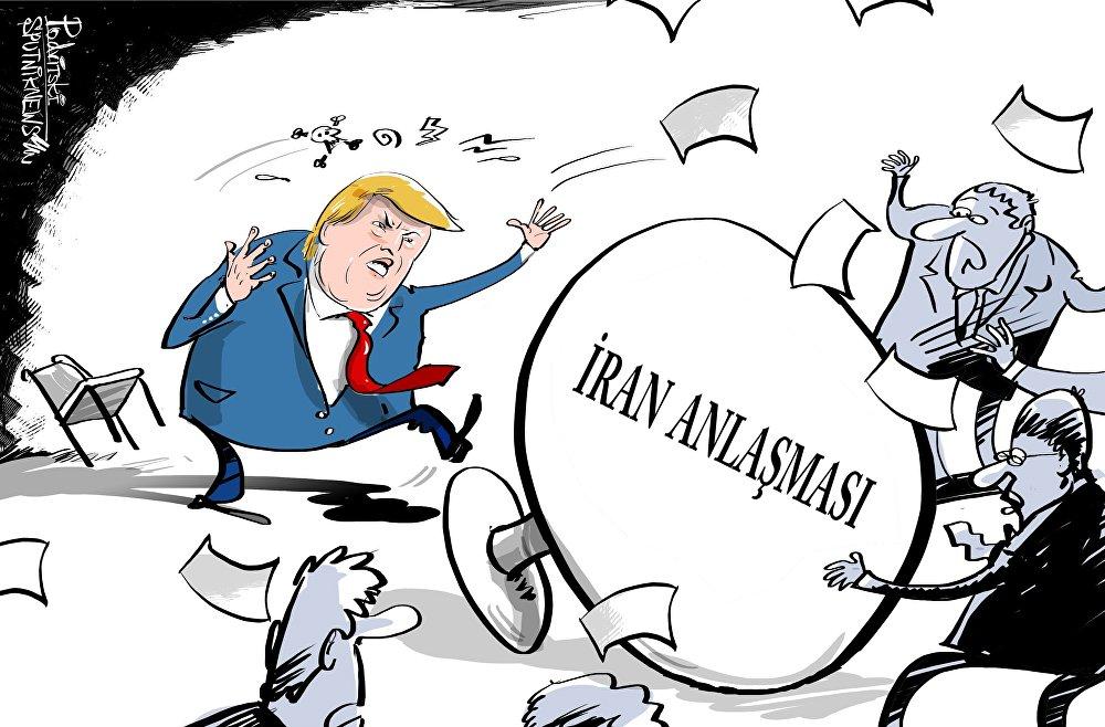 写真・図版 : ロシアの通信社スプートニク(トルコ語版)のウェブサイトより、2018年5月10日付の一コマ漫画。「イラン合意」と書かれた机をトランプ大統領が蹴り倒している