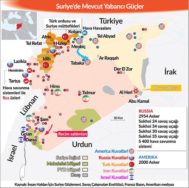 写真・図版 : トルコの新聞「Yeni Çağı」2018年6月24日付Cüneyt MENGÜ氏のコラムより、この時点でのシリア国内の勢力図 。前編(同年4月29日)の地図より、オレンジ色のトルコ軍の地域が広がり、黄緑色の反政府軍の領域と混在している。また、反政府軍やISの地域もシリア南部やレバノン国境付近に少し広がってきている。