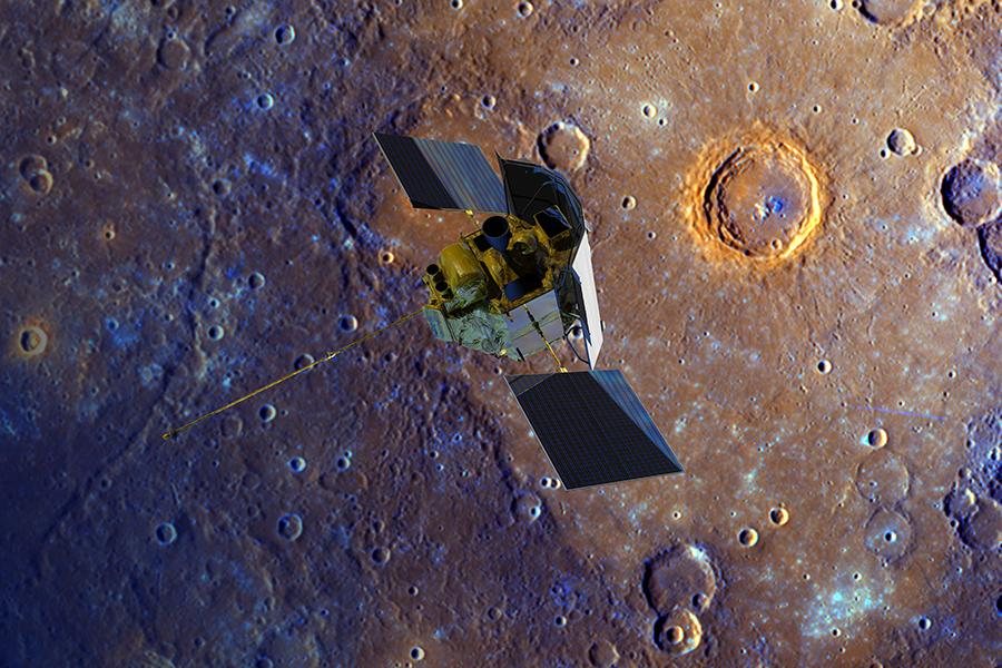 写真・図版 : 水星に接近するメッセンジャーの想像図=NASA提供