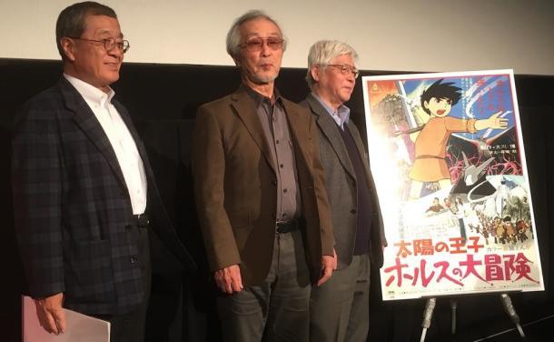 写真・図版 : 左から、司会の清水慎治氏、原画担当・小田部羊一氏、撮影担当・吉村次郎氏=撮影・筆者