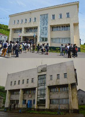 写真・図版 : 上は2016年、下は2002年に筆者が撮影した択捉島の芸術学校。改装されてきれいになっていた