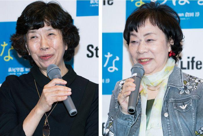 写真・図版 : 倉田淳(左)と萩尾望都=岩田えり撮影
