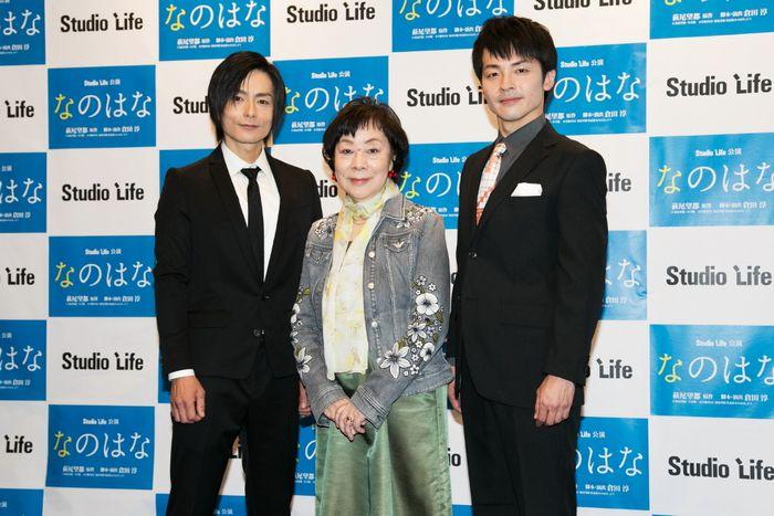 写真・図版 : 左から、松本慎也、萩尾望都、関戸博一=岩田えり撮影