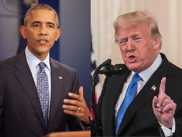 写真・図版 : ホワイトハウスで記者会見するオバマ大統領(左、2017年1月当時)と、トランプ大統領(右、2018年11月)。朝日新聞データベースより