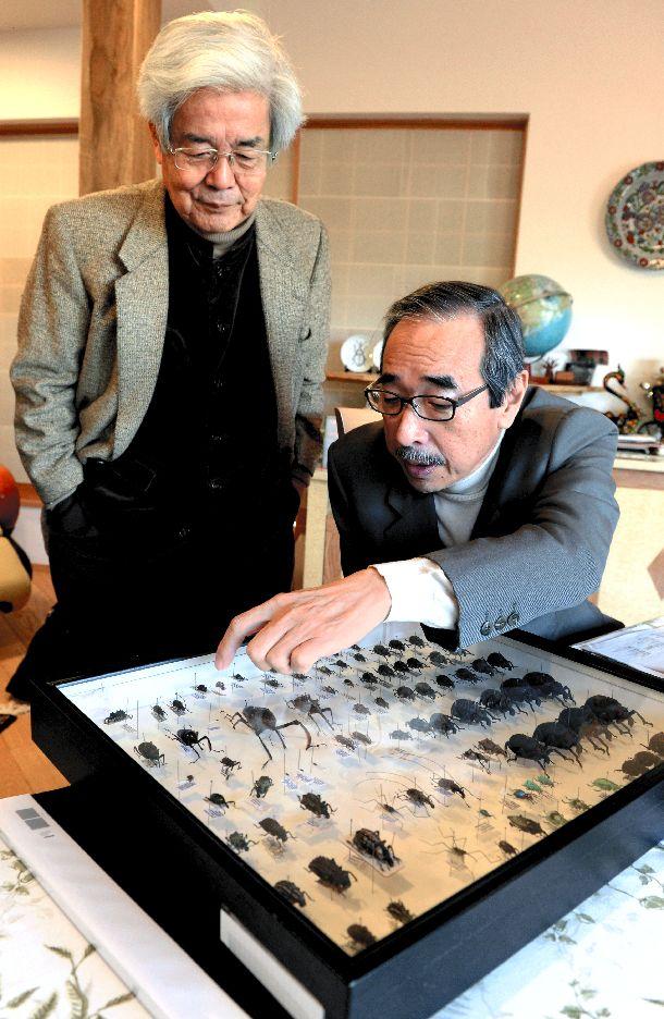 写真・図版 : ゾウムシの標本を眺める奥本大三郎さん。左は養老孟司さん=2014年1月28日