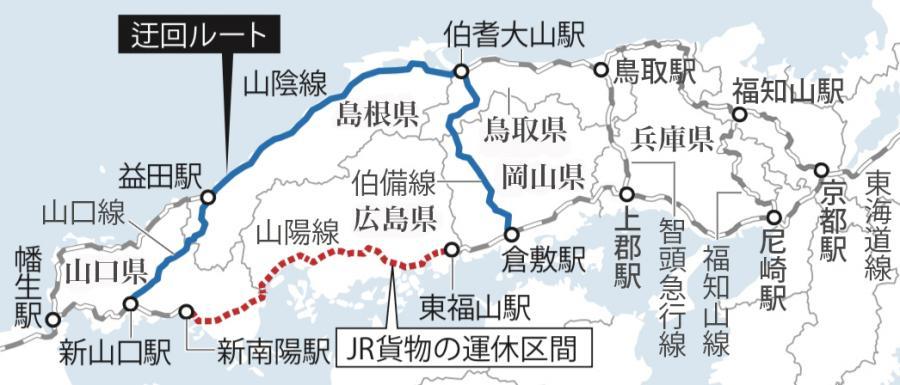 写真・図版 : JR貨物が走らせた迂回貨物列車のルート。迂回の開始時点で同社は、山陽線の東福山~新南陽間が運休していた
