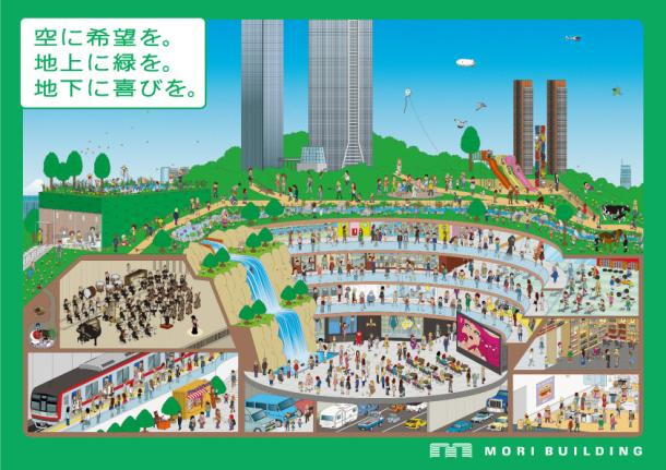写真・図版 : 森ビルの「立体緑園都市」のイメージ図。2009年の同社創立50年に、新聞広告に載せた=森ビル提供
