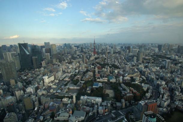 写真・図版 : 六本木ヒルズ森ビルの展望台から東京タワー側を見る=撮影・筆者