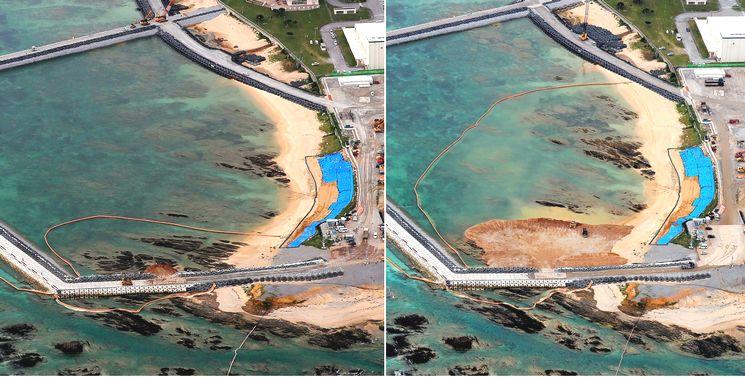 写真・図版 : 左は2018年12月14日、土砂の投入が始まった米軍キャンプ・シュワブの沿岸部。右は、12月21日、土砂投入から一週間。大量の土砂が投入され海の色も茶色く濁っていた=沖縄県名護市、朝日新聞社機から