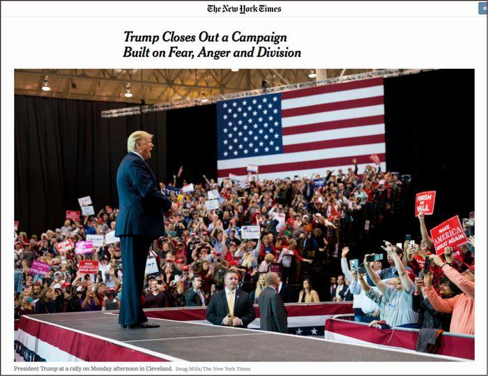 演説会で支持者に囲まれるトランプ大統領(「ニューヨーク・タイムズ」電子版)