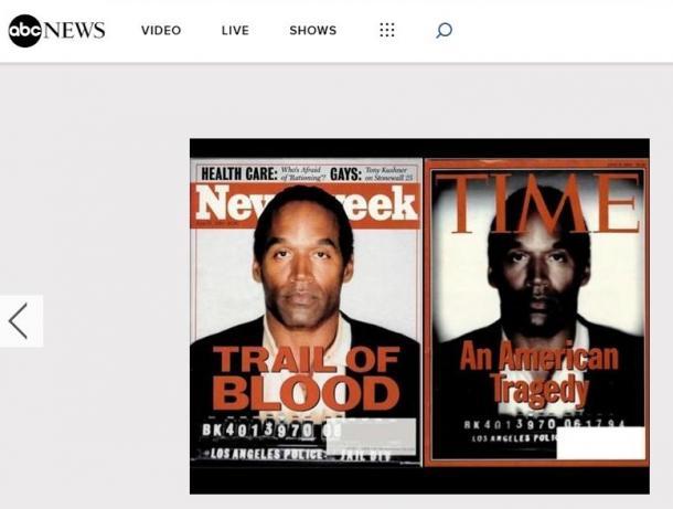 写真・図版 : 元アメリカンフットボール選手O.J.シンプソン=以下のサイトよりhttps://abcnews.go.com/International/photos/pharrell-cover-controversial-mag azine-covers-16328228/image-16328306