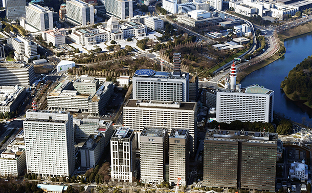 写真・図版 : 東京・霞が関の官庁街と国会議事堂