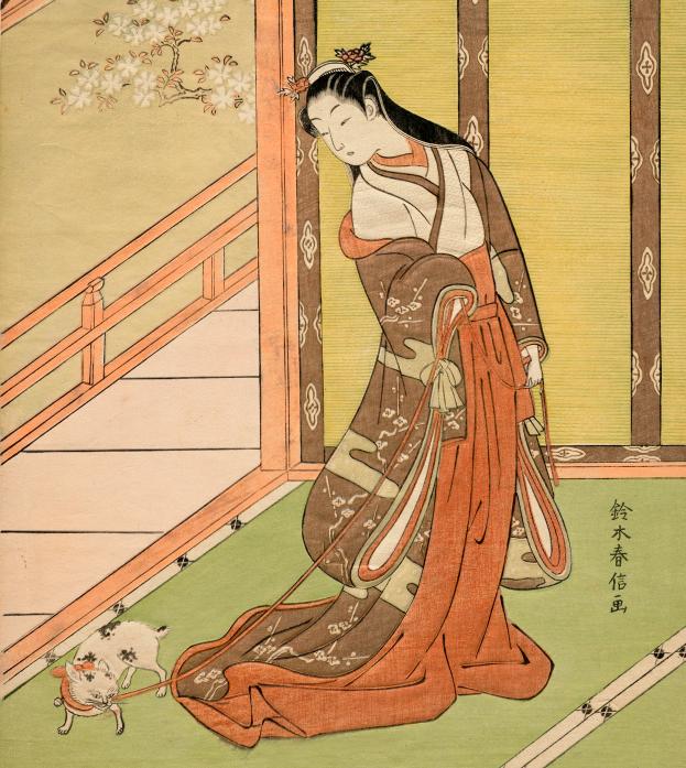 写真・図版 : 浮世絵に描かれた女三宮と猫