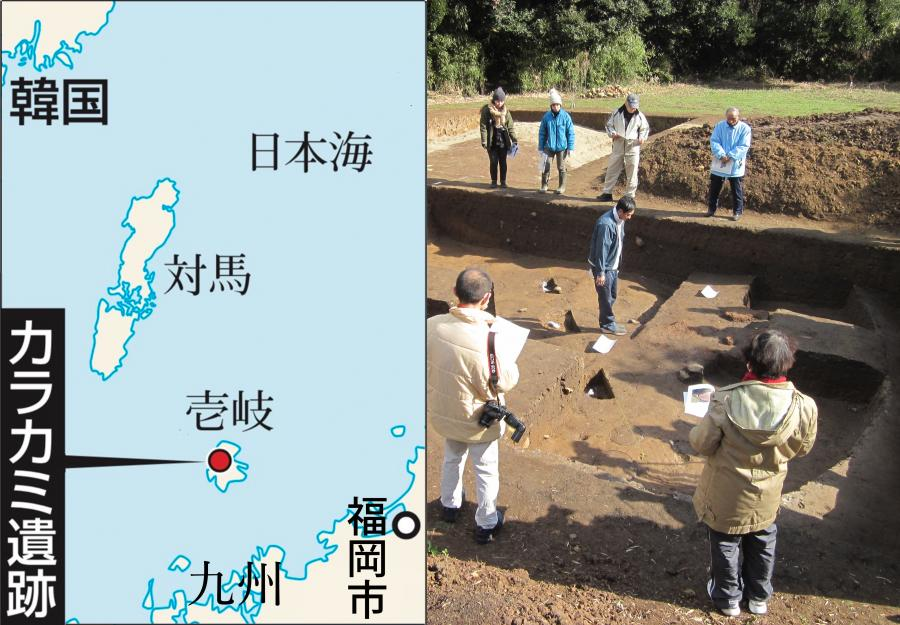 写真・図版 : 猫の骨が見つかった長崎県・壱岐島のカラカミ遺跡