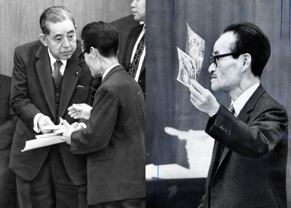 写真・図版 : 沖縄復帰を控えた1971年12月に衆院議員として首相の佐藤(左端)と論戦した瀬長=朝日新聞社