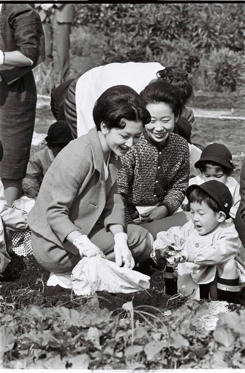 写真・図版 : 遠足で芋掘りをする現皇后と現皇太子=1964年10月、東京都小平市の農園