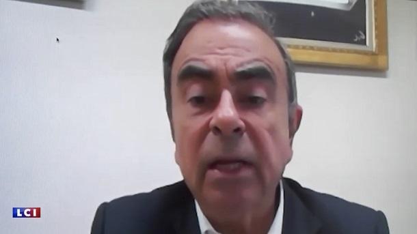 写真・図版 : 再逮捕前にインタビューに答える日産自動車前会長のカルロス・ゴーン容疑者=仏民放ニュース局LCIのホームページから
