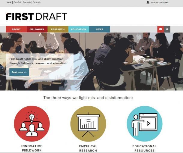 写真・図版 : 米英のメディア組織が中心となって立ち上げた非営利組織「ファースト・ドラフト」=ウェブサイトより
