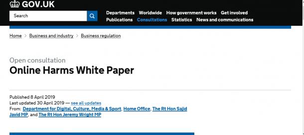 英政府が公開した白書「Online Harms White Paper」