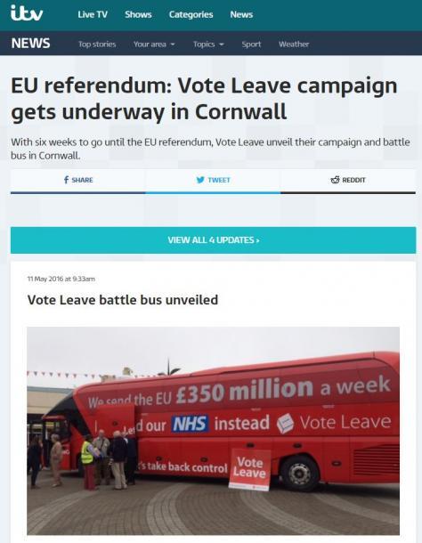 写真・図版 : 離脱運動「ボート・リーブ」がメディア向けに選挙バスをお披露目=2016年5月、民放ITVのサイトより