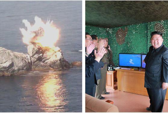 写真・図版 : 金正恩朝鮮労働党委員長が指導した5月4日の軍事訓練=労働新聞のホームページから