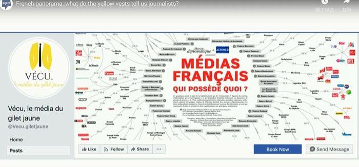 写真・図版 : 黄色いベスト運動参加者による、フェイスブックのページ「VECU」。右はフランスのメディア所有図(ウェブサイトより)