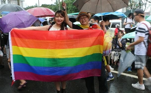 台湾では同性婚法が成立した=2019年5月17日、台北