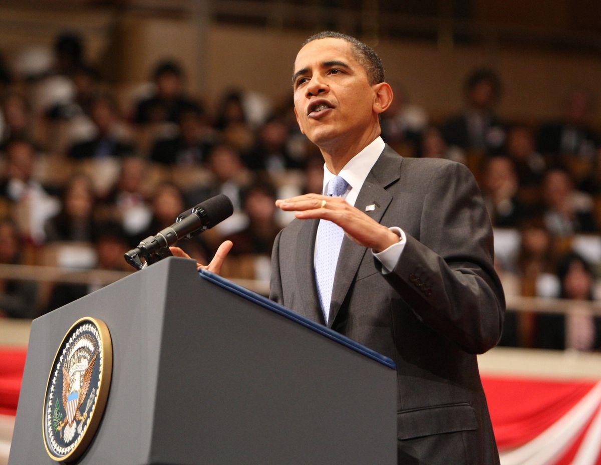 写真・図版 : 2009年11月、初来日で演説するオバマ米大統領=東京・赤坂。朝日新聞社