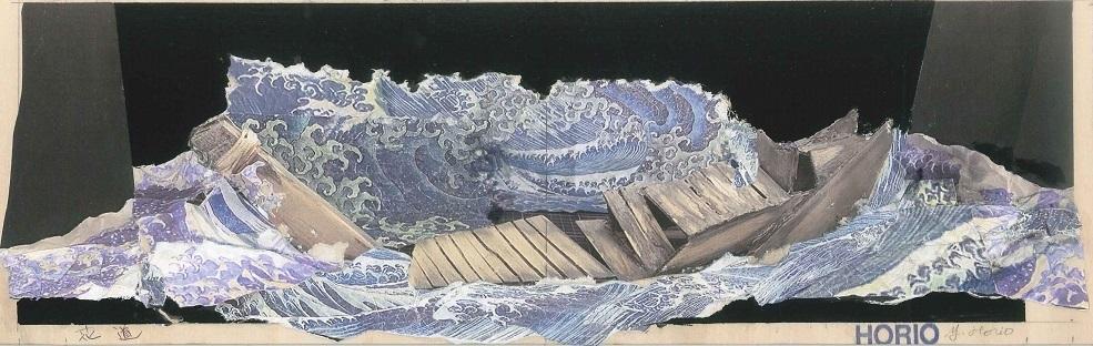 写真・図版 : 堀尾幸男が描いた、海上の嵐の場面のデザイン