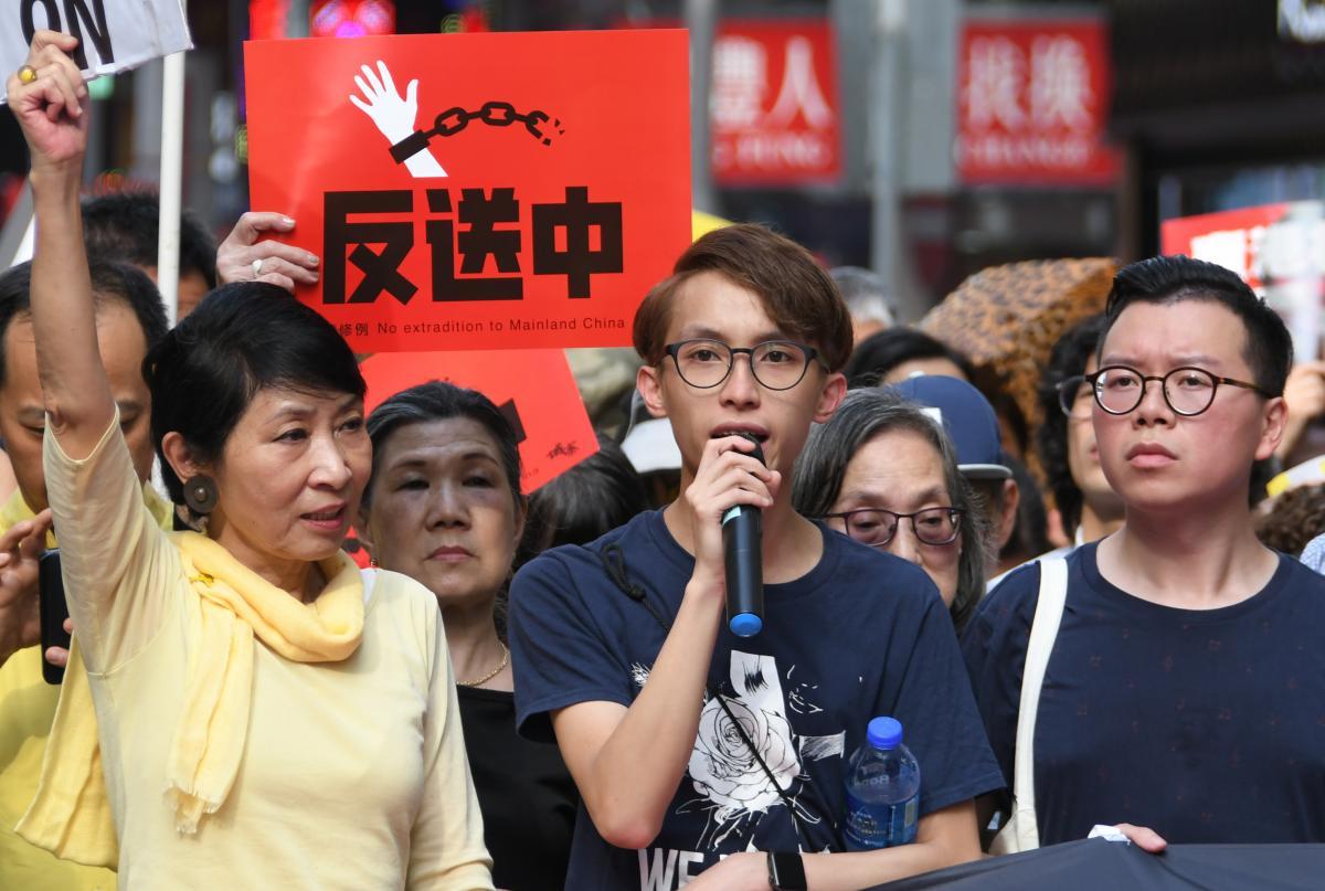 写真・図版 : 逃亡犯引き渡し条例に反対する民主派のデモ=2019年4月28日