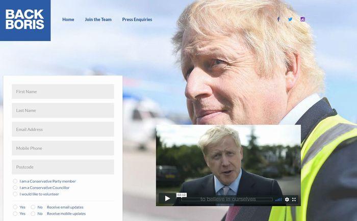 写真・図版 : 与党保守党の党首候補の中で最有力視される、ボリス・ジョンソン議員の支援サイト「バック・ボリス」(ウェブサイトより)