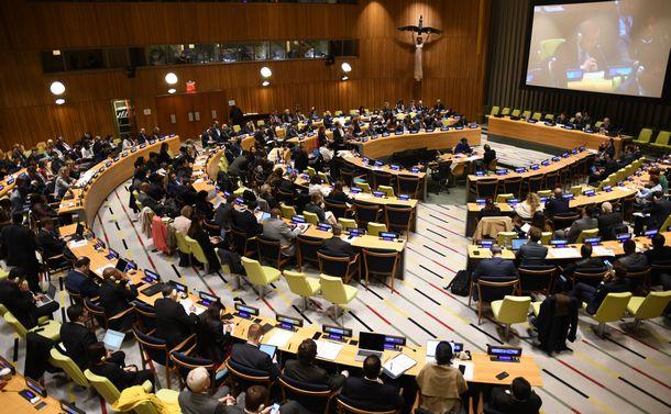 写真・図版 : 核不拡散条約の再検討会議に向けた準備委員会=2019年5月10日、米ニューヨークの国連本部