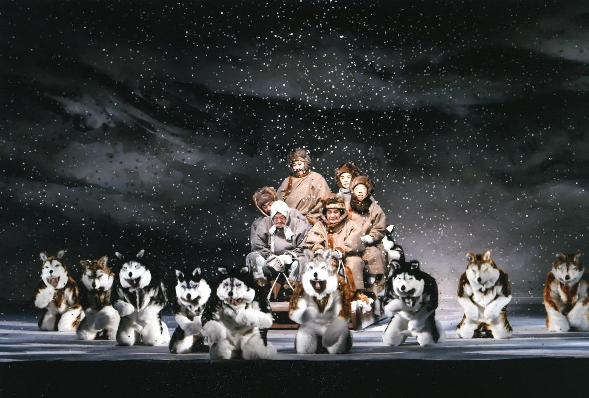 写真・図版 : 10頭の犬がそりを引いて、雪原を駆け抜ける。この舞台一番のスペクタクルシーンだ=©松竹