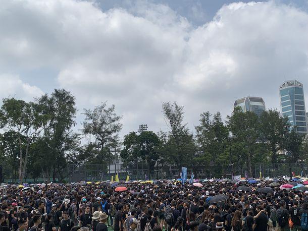写真・図版 : ヴィクトリアパークで行進を待つ人々(撮影:五野井郁夫)