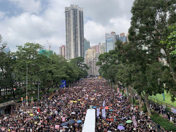 写真・図版 : ヴィクトリアパークそばの道路を埋め尽くすデモ参加者(撮影:五野井郁夫)