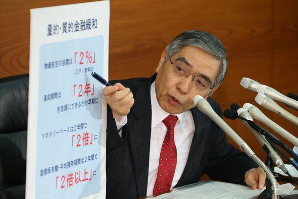 写真・図版 : 会見でパネルを使って量的緩和政策の説明する日銀の黒田東彦総裁=2013年4月4日