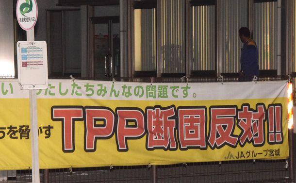 写真・図版 : TPP関連法案の可決後も、JAの支店には「断固反対!!」の横断幕が掲げられていた=2016年11月10日、宮城県内