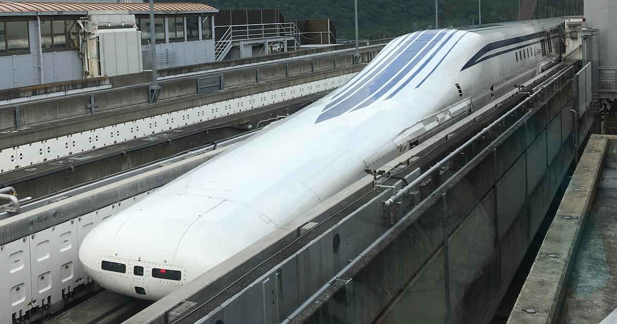 リニア中央新幹線の「L0系」=山梨県都留市小形山の実験センター