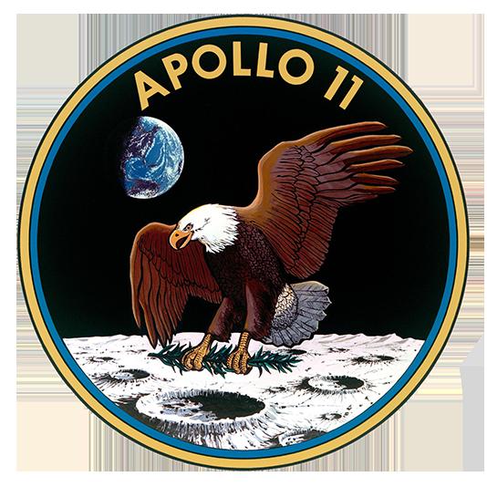 写真・図版 : アポロ11号ミッションのエンブレム。月着陸船の名前「イーグル」にちなんでワシがデザインされた=NASA