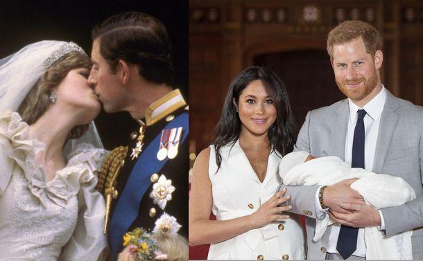 写真・図版 : 1981年、チャールズ皇太子と結婚したダイアナ妃(写真左)。生まれた子どもを抱くハリー王子とメーガン妃(写真右)=AP